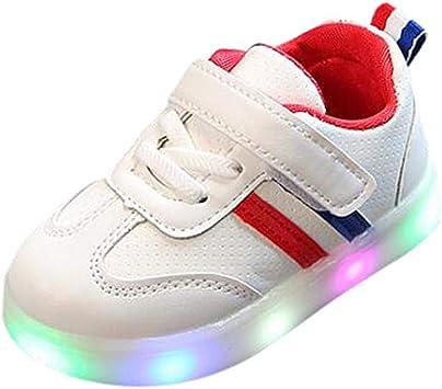 Bébé Chaussures LED Baskets Sport, Xinantime Toddler Kids Enfants Chaussures à Rayures LED éclairent Les Baskets Lumineuses