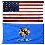 US Flag with Oklahoma State Flag 3 x 5 - 100% American Made - Nylon