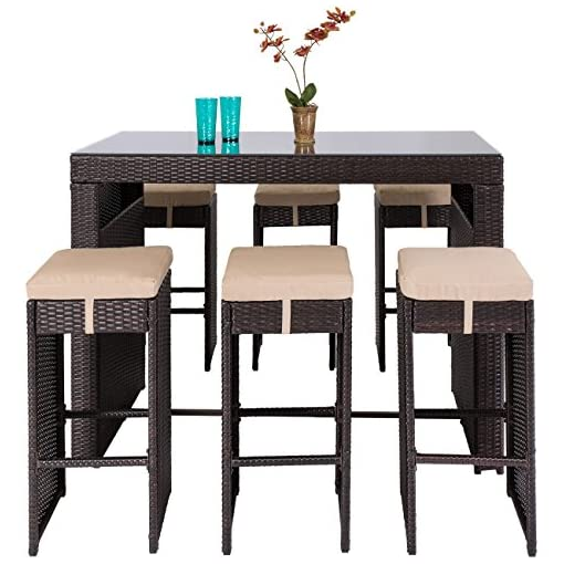 Garden and Outdoor Best Choice Products 7-Piece Outdoor Wicker Bar Dining Set, Rattan Patio Furniture for Backyard, Garden w/Glass Table… patio dining sets