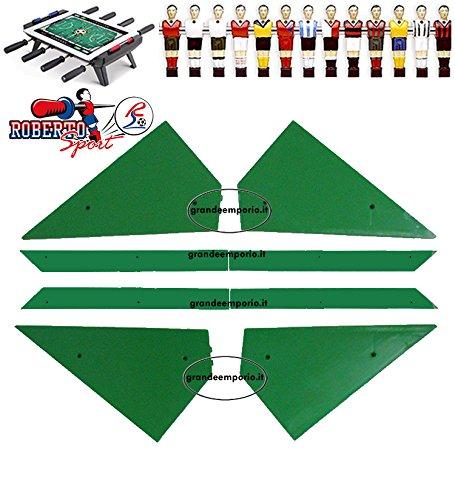 Roberto Sport Calcio Balilla ricambi angolari ferma vetro 8 pezzi, 4 angoli e 4 liste, in plastica verde, adatti a tutti i modelli.