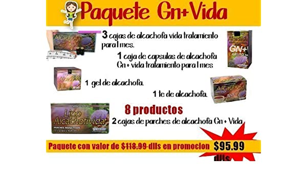 Amazon.com: Alcachofa Capsulas,gel,parches,te,ampolletas Gn+vida Paquete 8 Productos by Gn+vida: Health & Personal Care