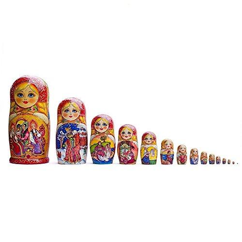 13'' Set of 15 Fairy Tales Wooden Matryoshka Russian Nesting Dolls by BestPysanky