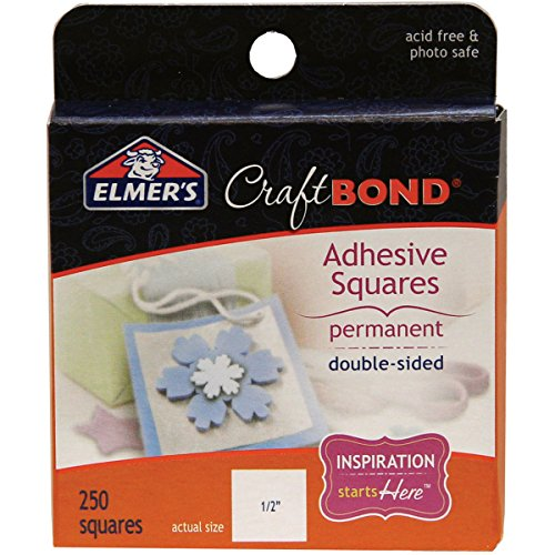 Elmer's E4008 CraftBond Adhesive Squares, Double Sided, Permanent, 1/2-Inch by 1/2-Inch, 250 Squares per Pack, Clear