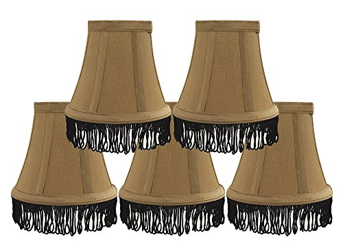 Black Shades Chandelier Silk (Urbanest Set of 5 Gold with Black Fringe Silk Bell Chandelier Lamp Shade, 3-inch by 5-inch by 4 1/2-inch, Clip-on)