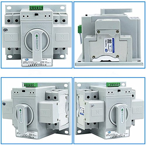guangshun New Home Dual Power Automatic Transfer Switch 2P 63A 220V Toggle Switch Double Power Automatic Change-Over Switch by guangshun (Image #2)
