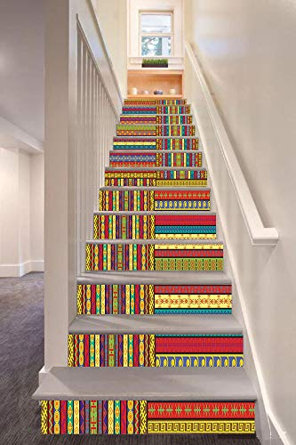 """African 3D Stair Riser Stickers Removable Wall Murals Stickers,Set of Ethnic Borders Pattern Old Fashioned Ancient Culture Colorful Artful Print Decorative,for Home Decor 39.3""""x7""""x13PCS,Multicolor"""