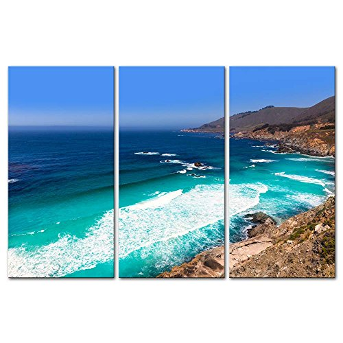 3 Pieces Modern Canvas Painting Wall Art The Picture For Home Decoration California Beach Near Bixby Bridge In Big Sur In Monterey County Along State Route 1 Us Seascape Coast Print On Canvas Giclee Artwork For Wall Decor
