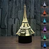 3D Eiffel Tower lamp Night Light Table Desk Optical Illusion Lamps 7 Color Changing Lights Home Decoration Xmas Birthday Gift