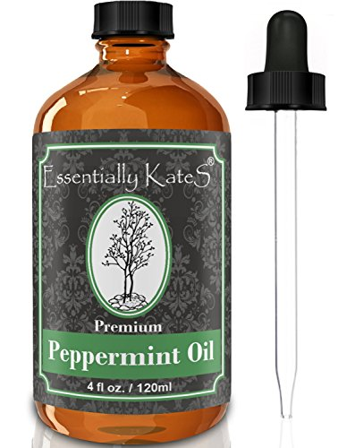 (Peppermint Essential Oil 4 oz. with Detailed User's Guide E-book and Glass Dropper by Essentially KateS.)