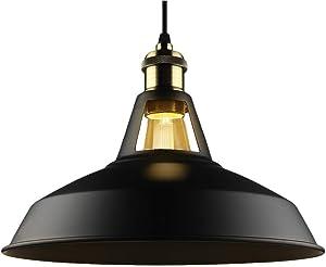 "B2ocled Retro Industrial Black Pendant Lighting,Barn Farmhouse Pendant Light E26/E27 Base for Kitchen Island, Metal Aluminum Shade Ceiling Hanging Lights (Black, 12"")"
