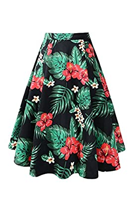 Pinup Fashion Women's Vintage A-line Floral Printed Pleated Flared Midi Summer Skirts