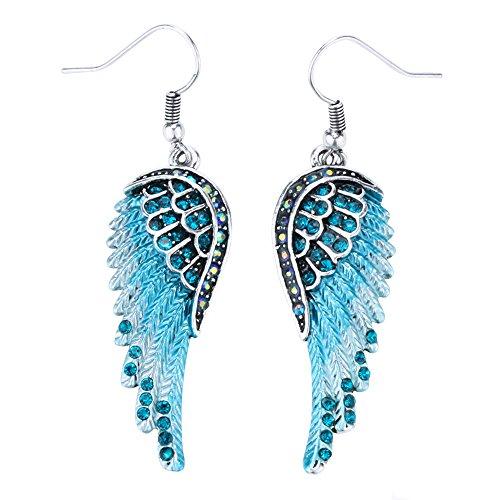 Dangling Brooch Crystal (Szxc Jewelry Women's Crystal Angel Wings Dangle Earrings Biker Jewelry)