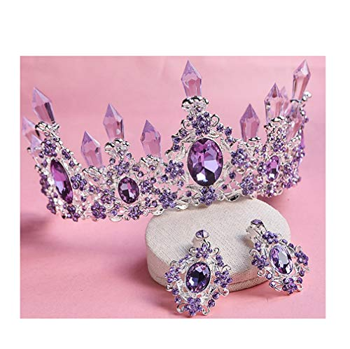 (Costume Photography Pageant Prom Wedding Accessories Transparent Rhinestone Column Alloy Headband Queen Bridal Tiara Crown with Earrings)