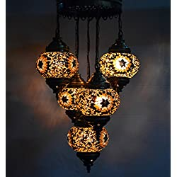 Multicolour Tiffany Turkish Moroccan Style Mosaic Hanging Light Hand Made 5 Brown Globe 587