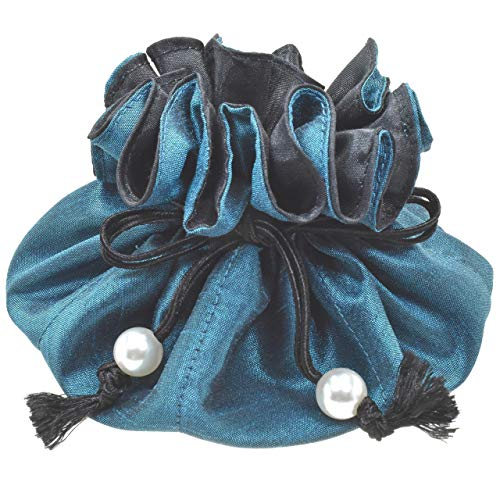 Handmade Drawstring Jewelry Pouch, 8 Pockets, Poly Dupioni Silk, Teal + Black