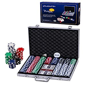 Doublefan Poker Set, 500 PCS Clay Quality Poker Chips Blackjack Chips with Aluminum Case, Suit for 4-9 Players