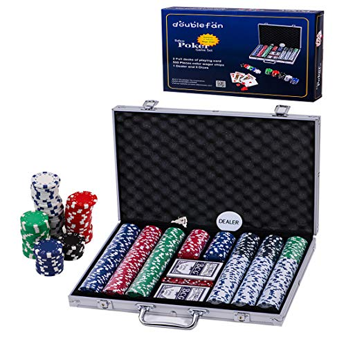 (Doublefan Poker Set, 500 PCS Clay Quality Poker Chips Blackjack Chips with Aluminum Case, Suit for 4-9 Players)