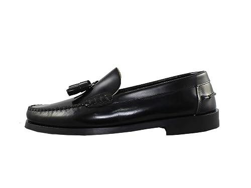 Mocasín de piel con Borlas, suela de Cuero o Goma, línea Castellanos.: Amazon.es: Zapatos y complementos