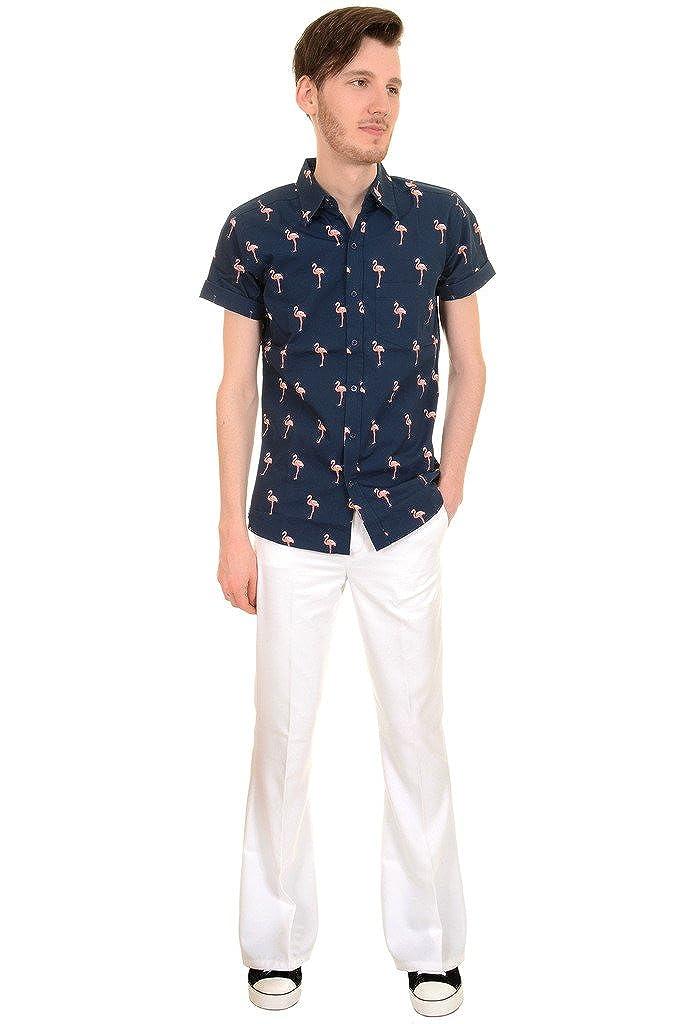 Run /& Fly Mens 50s 60s Indie Retro Preppy Flamingo Short Sleeve Shirt
