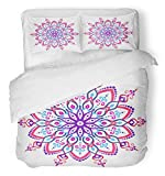 Emvency 3 Piece Duvet Cover Set Breathable Brushed Microfiber Fabric Mandala Round Colorful Flower Floral Chakra Symbol for Meditation Yoga Complex Bedding with 2 Pillow Covers Full/Queen Size