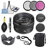 Canon EF 50mm f/1.4 USM Lens with Ultrasonic Autofocus Motor for Canon Digital SLR Cameras & Accessory Bundle (11 Items)
