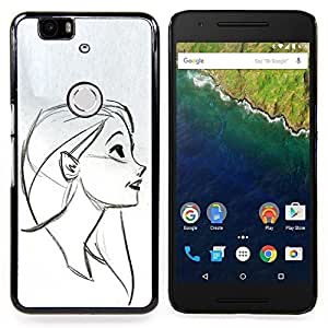 - Portrait Profile Girl Drawing Pencil Face - - Snap-On Rugged Hard Cover Case Funny HouseFOR Huawei Nexus 6P