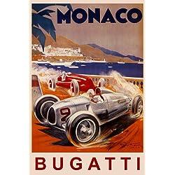 """MONACO BUGATTI FASTEST ITALIAN CAR RACING GRAND PRIX RACE 16"""" X 24"""" IMAGE SIZE VINTAGE POSTER REPRO"""
