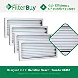 4 - Hamilton Beach 04383 04384 04385 Filters, Part # 990051000. Designed by FilterBuy to fit Hamilton Beach True Air 04383 Air Purifier.