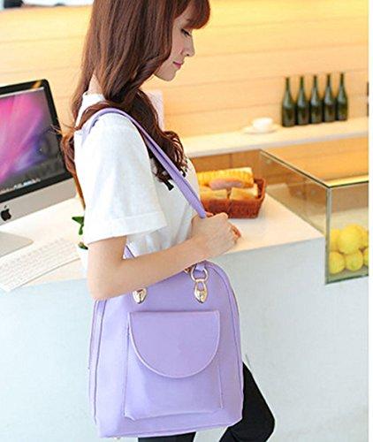 QPALZM PU-Leder Koreanisch Hochschule Wind Schulter Schultasche Multifunktions Retro Trend Ms. Reise Rucksack 28,21 Unzen (oz),Purple