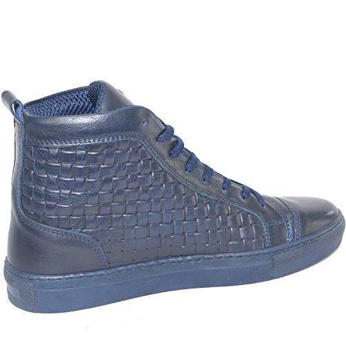 Malu Shoes Sneakers Alta Uomo Made in Italy Blu Vera Pelle Intrecciata Moda Giovanile
