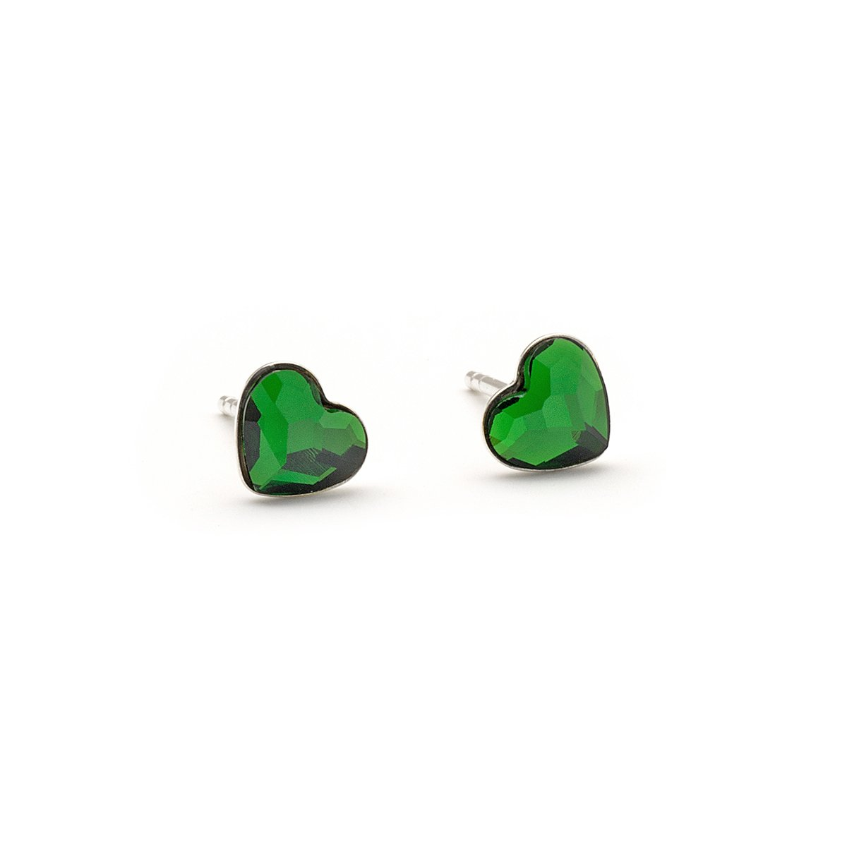 Tiny green Swarovski Heart dainty stud crystal 6mm sterling silver 925 post earrings