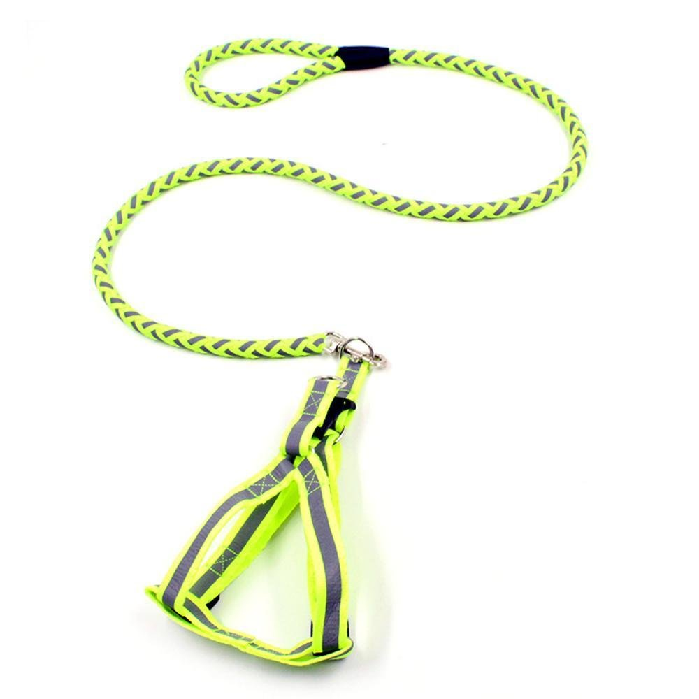 Hjyi Dog Reflective Round Rope Traction Rope Luminous Chest Strap