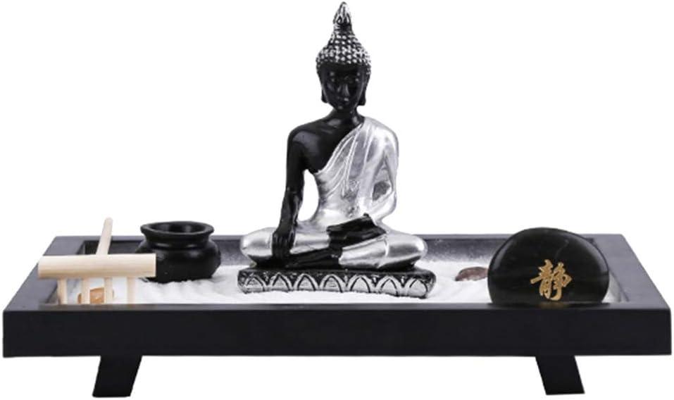 BESPORTBLE Mini Meditación Zen Jardín Buda Figura Arena Alisar Empujar Rastrillo Vintage Miniatura Mesa Decoración de Oficina: Amazon.es: Hogar