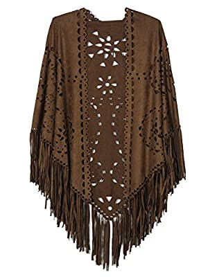 Persun Coffee Suedette Laser Cut Fringed Cape Shawl Wrap Scarf