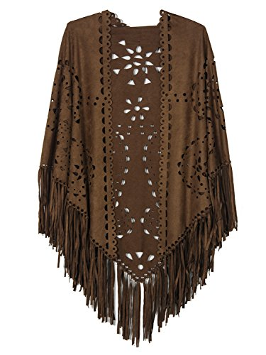 Persun Coffee Suedette Laser Cut Fringed Cape Shawl Wrap Scarf Coffee, Coffee, One Size (Shawl With Fringe)