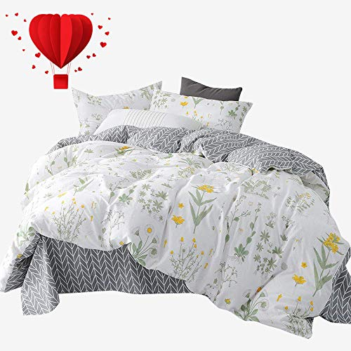 - BuLuTu Twin Floral Bedding Cover Sets White for Girls,Reversible Arrow Grey Nature Garden Flower Twin Duvet Cover Set White Zipper Closure Soft Comforter Cover,No Comforter