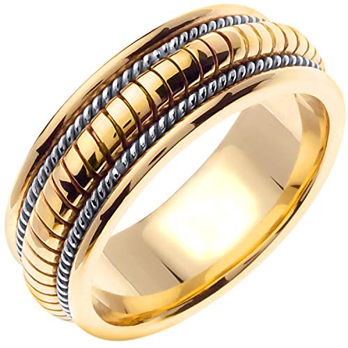 14K Two Tone (White and Yellow) Gold Braided Coil Twist Men's Comfort Fit Wedding Band (8mm) Size-13c1
