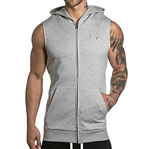 EVERWORTH Men's Gym Fitted Sleeveless Zip Hoodie Tapered Sport Bodybuilding Vest Sweatshirt Gray M tag L Sleeveless Zip Hoody