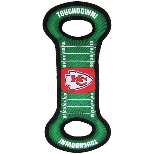 Pets First NFL Football Field Dog Toy with Squeaker. - Kansas City Chiefs - for Tug, Toss, and Fetch. - Tough & Durable PET Toy
