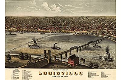 Map of Louisville, Kentucky 1876; Antique Birdseye Map; Custom Printed