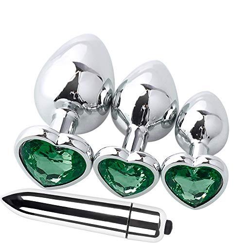 metallo con di gioielli anale Giocattolo tappi mini di posteriore di Dark forma argento vibratore 3pcs a pezzi argento per spina 4 cuore BaZhaHei a nascita Sexy da forma cuore Verde Base Rq7vUq