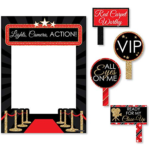 Hollywood Photo Frame (Big Dot of Happiness Red Carpet Hollywood - Movie Night Party Selfie Photo Booth Picture Frame and Props - Printed on Sturdy)