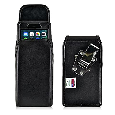 iPhone 8 Plus, iPhone 7 Plus Vertical Belt Case for Otterbox DEFENDER Case Turtleback iPhone 8 Plus, iPhone 7 Plus Holster for Otterbox DEFENDER Rotating Belt Clip, Black Leather Pouch Made in - Iphone Vertical Case