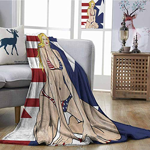 Fickdle Travel Blanket Girls Blonde Top Model American Woman Wearing USA Flag Swimsuit Western 4th of July Theme Print Multi All Season Premium Bed Blanket W70 xL93 -