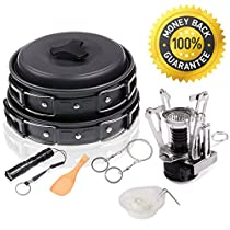 Wolfyok Outdoor Camping Pan Hiking Backpacking Cookware Set Bundle with Camping Stove, Pot Set, Flashlight, Piezo Ignition Kit(12-Items)