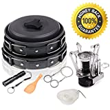 12Pcs Outdoor Camping Cookware Mess Kit, Wolfyok Lightweight Hiking Backpacking Non-stick Cookset with Piezo Ignition Kit, Pot Pan Bowls, Flashlight and Wire Saw