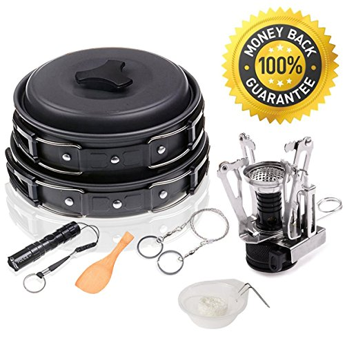 12Pcs Outdoor Camping Cookware Mess Kit, Wolfyok Lightweight Hiking Backpacking Non-stick Cookset with Piezo Ignition Kit, Pot Pan Bowls, Flashlight and Wire Saw (Stove Mesh)