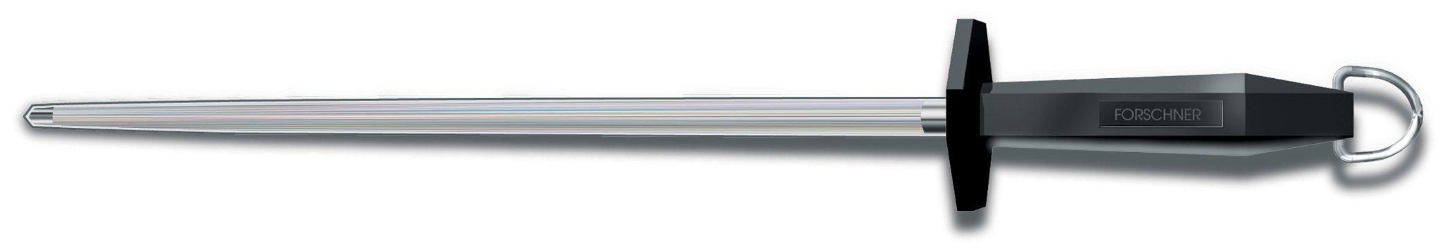 Victorinox Honing Steel 14-Inch Round Regular Cut, Black Plastic Handle