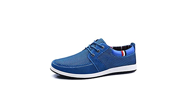 Amazon.com: Men Casual Shoes With Platform Breathable Boat Shoes Royal Blue 7.5: Clothing