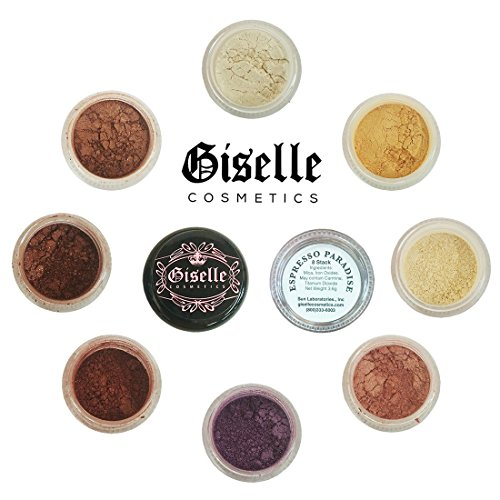 Mineral Makeup Eye Shadow Powder, Foundation, Concealer, Blush, and Contouring Palette by Giselle Cosmetics | Pure, Non-Diluted Shimmer Mineral Make Up in 8 Espresso Hues and Shades | For Oily Skin (Mineral Shimmer Pure)